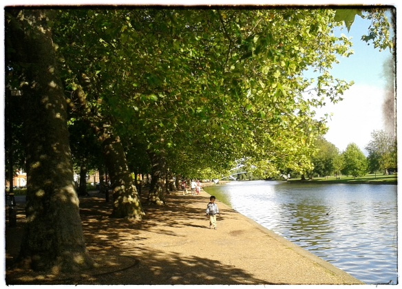 Enjoying a leisurely stroll on the Embankment,  Bedford